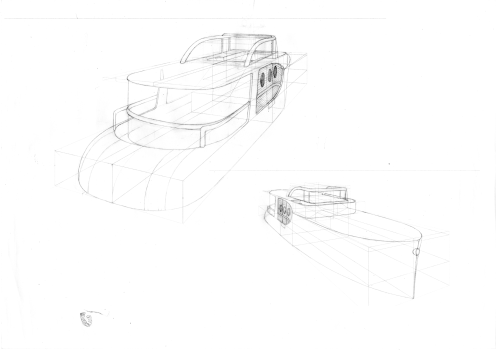 My new 65 foot slim cruiser - two perspective drawings of the major features