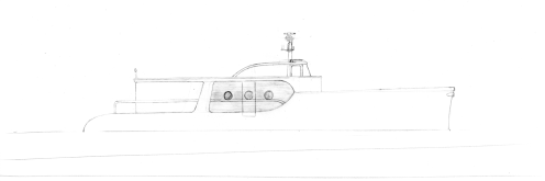 Side view of the new 65foot slim cruiser - freehand on measured length.
